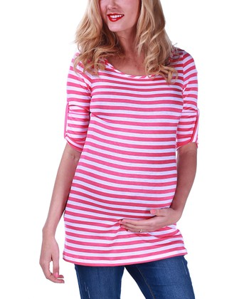 Fuchsia & White Stripe Maternity Top