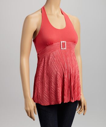 QT Coral Embellished Maternity Halter Top - Women