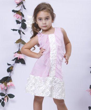 Mia Belle Baby Pink & Crème Tuxedo Ruffle Drop-Waist Dress - Toddler & Girls