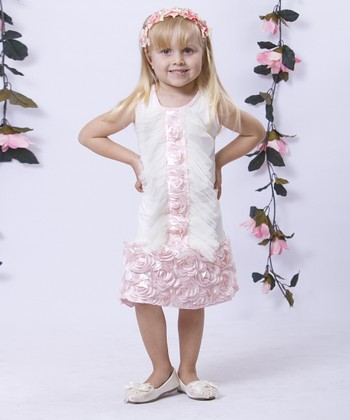 Mia Belle Baby Crème & Pink Tuxedo Ruffle Drop-Waist Dress - Toddler & Girls