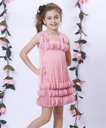 Mia Belle Baby Dusty Rose Hanging Petal Gatsby Shift Dress - Girls
