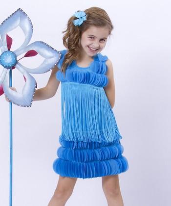 Mia Belle Baby Turquoise Hanging Petal Gatsby Shift Dress - Girls