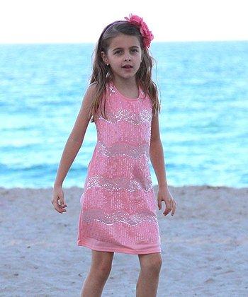Mia Belle Baby Dusty Rose Sequin Stripe Shift Dress - Girls