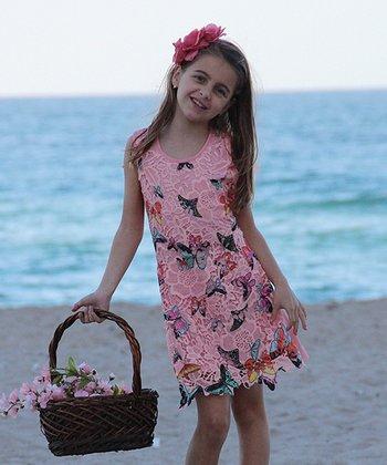 Mia Belle Baby Dusty Rose Butterfly Lace Shift Dress - Girls