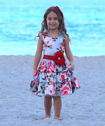 Mia Belle Baby Silver Rose Ruffle Tiered Dress - Toddler & Girls
