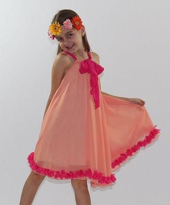 Mia Belle Baby Orange & Pink Rosette Swing Dress - Girls