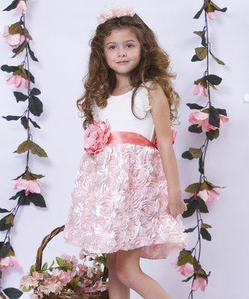Mia Belle Baby Pink & Cream Rosette Sash Dress - Girls