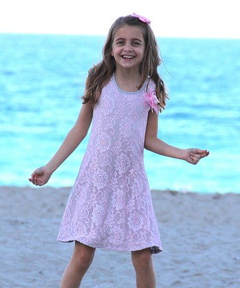 Mia Belle Baby Gray & Pink Lace A-Line Dress - Toddler & Girls