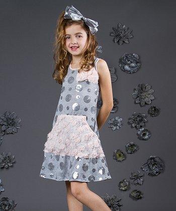 Mia Belle Baby Gray & Pink Polka Dot Sequin Dress - Toddler & Girls