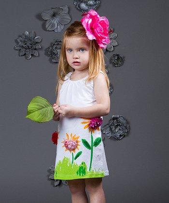 Mia Belle Baby White & Green Floral Garden Dress - Toddler & Girls