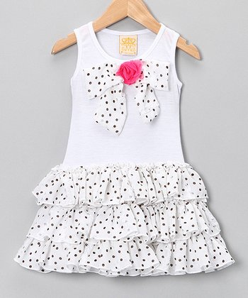 Mia Belle Baby White Polka Dot Bow Ruffle Dress - Toddler & Girls