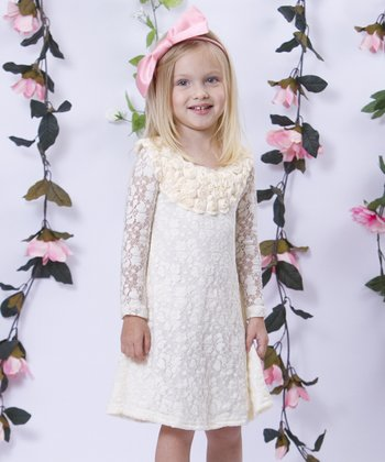 Mia Belle Baby Crème Lace Rosette A-Line Dress - Toddler & Girls