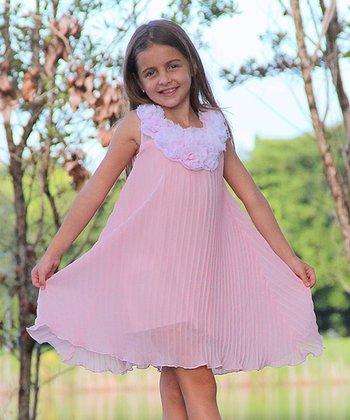 Mia Belle Baby Pink Pleated Rosette Twirl Dress - Toddler & Girls