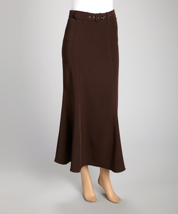 Brown Belted Maxi Skirt - Women & Plus