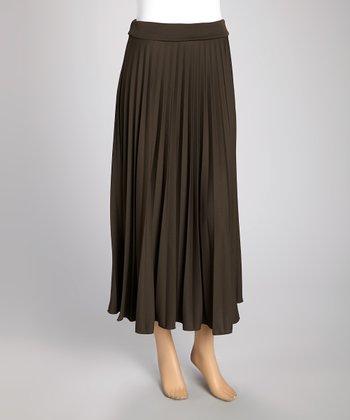 Wall Street Olive Pleated Maxi Skirt - Women & Plus