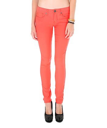Light Orange Low-Rise Super Skinny Jeans