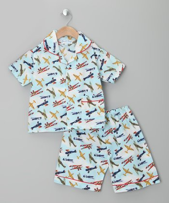 Blue Vintage Plane Button-Up & Shorts - Infant, Toddler & Boys
