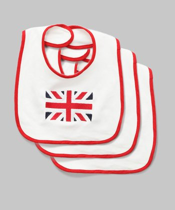 White Union Jack Bib - Set of Three