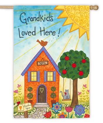 Evergreen 'Grand Kids Loved Here' Sueded Garden Flag