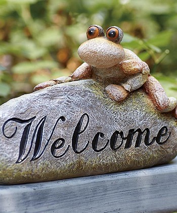 Frog 'Welcome' Stone