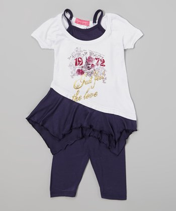 Black '1972' Layered Tunic & Leggings - Infant & Toddler