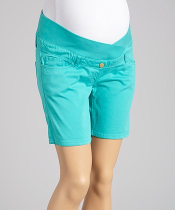 Oh! Mamma Turquoise Under-Belly Maternity Shorts - Women