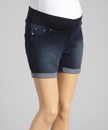 Oh! Mamma Medium Denim Under-Belly Maternity Shorts - Women