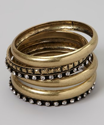 Gold & Black Sparkle Bangle Set