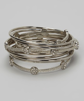 Silver Sparkle Floral Bangle Set