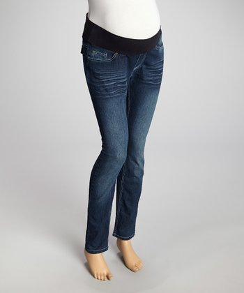 Dark Wash Under-Belly Maternity Skinny Jeans - Women