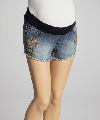 Mom & Co. Medium Wash Floral Embroidered Maternity Cutoff Shorts - Women