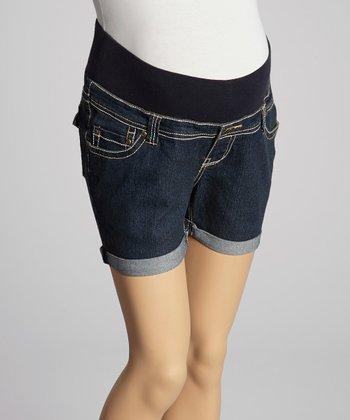 Oh! Mamma Dark Rinse Denim Under-Belly Maternity Shorts