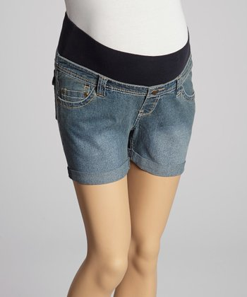 Light Wash Denim Cuff Under-Belly Maternity Shorts - Women