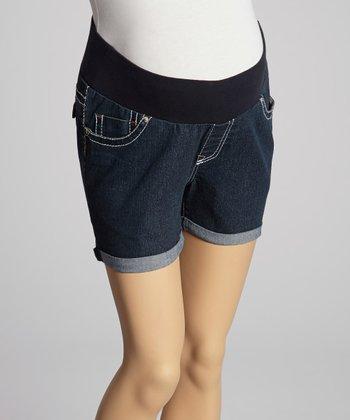 Oh! Mamma Dark Blue Rinse Under-Belly Maternity Denim Shorts - Women