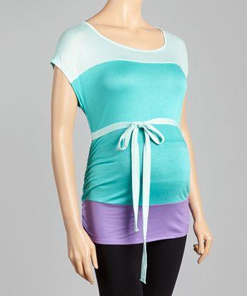 Mom & Co. Mint & Aqua Color Block Maternity Top - Women