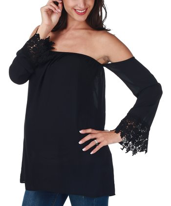 Black Maternity Maternity Off-Shoulder Top