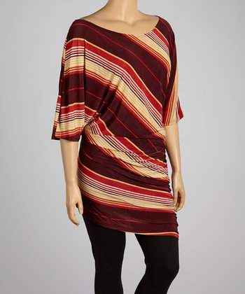 Red Diagonal Stripe Tunic - Plus