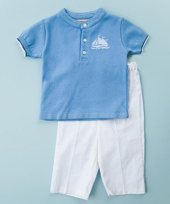 Blue Polo & White Pants - Infant, Toddler & Boys