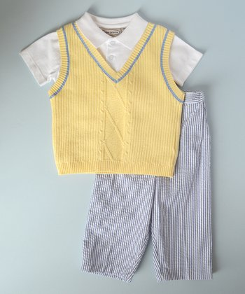 Yellow & Blue Vest Set - Infant, Toddler & Boys