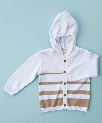 White & Taupe Stripe Cardigan - Infant, Toddler & Kids