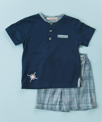Navy & Blue Compass Polo & Shorts - Infant, Toddler & Boys