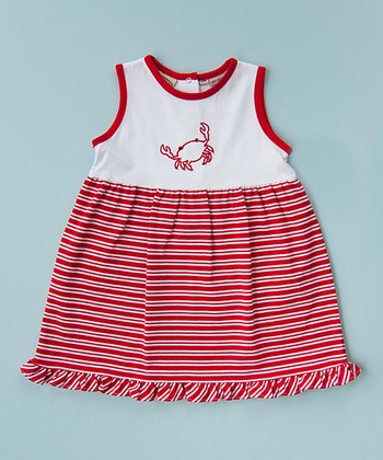 White & Red Stripe Crab Dress - Infant