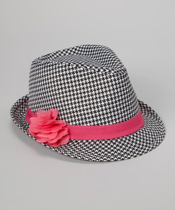 Black & Pink Houndstooth Flower Fedora