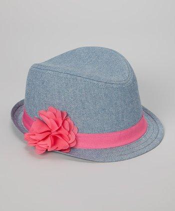 Blue & Pink Flower Fedora