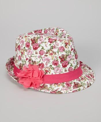 Pink Floral Fedora