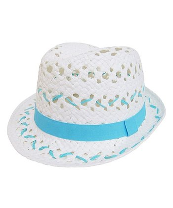 White & Electric Blue Open-Weave Fedora