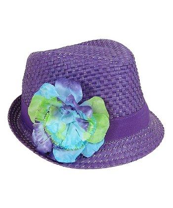 Purple Flower Woven Fedora