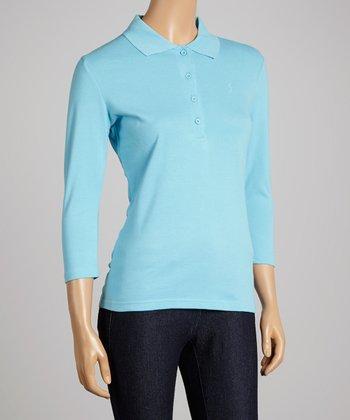 Light Blue Three-Quarter Sleeve Polo - Women