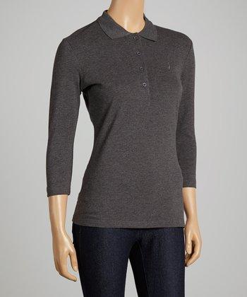 Charcoal Three-Quarter Sleeve Polo - Women