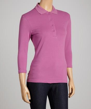 Plum Three-Quarter Sleeve Polo - Women